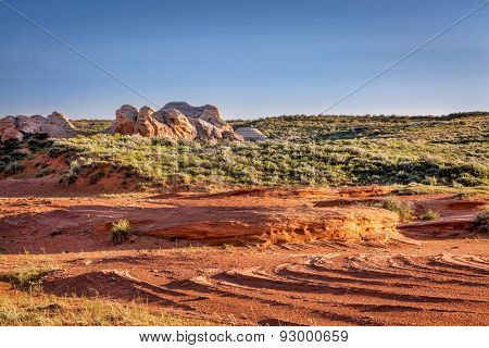 red sandstone formation and prairie in Sand Creek National Landmark at Colorado and Wyoming border near Laramie