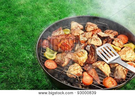 Bbq Assorted Meat And Vegetables On The Hot Flaming Grill