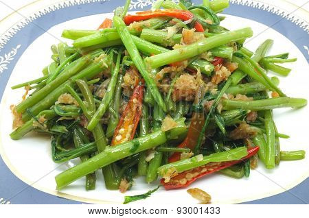 Stir Fried Water Spinach, Morning Glory with dry shrimp, seafood, thai food