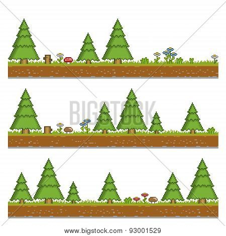Pixel art forest green background for games and design