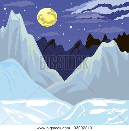 Illustration of the night mountain landscape in winter.