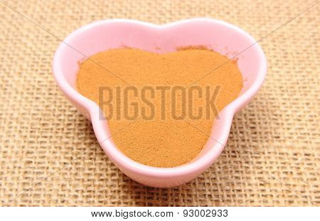 Instant Coffee In Pink Cup On Jute Canvas