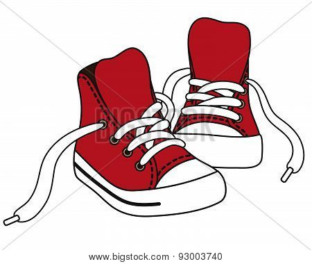 Vector illustration of red sneakers.