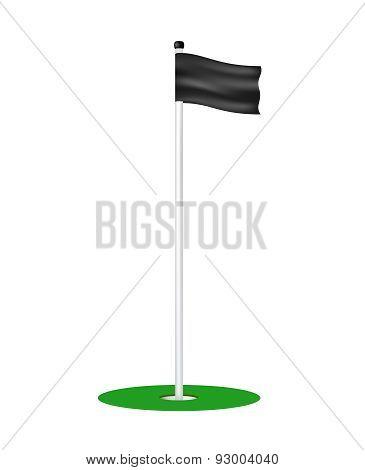 Golf hole with black flag
