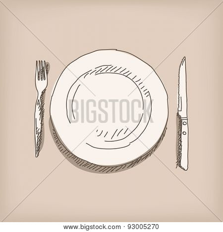 Sketch of plate, knife, fork. Hand drawn illustration Vector, Isolated