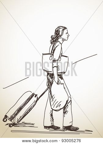 Sketch of woman with suitcase, Hand drawn Vector illustration