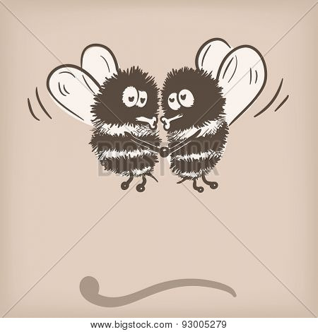 Bee couple doodle, Vector illustration