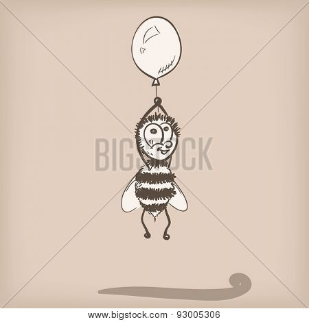 Bee flying on balloon doodle, Vector illustration