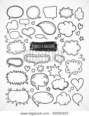 Hand drawn speech and thought bubbles and balloons