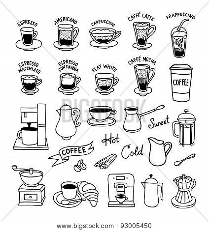 Hand drawn vector set coffee icons: cups, coffee maker, coffee to go