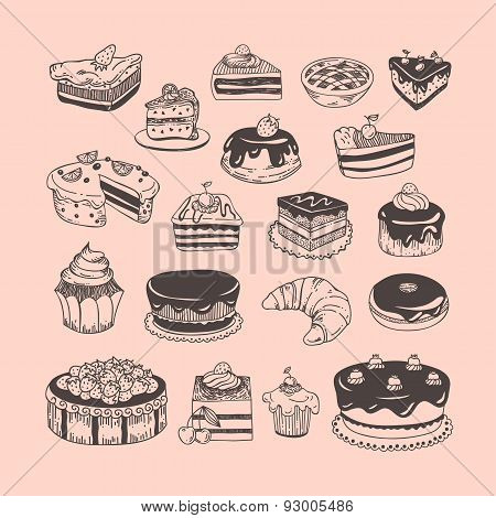 Hand drawn vector set desserts, bakery, sweets, tarts, donuts, cupcakes