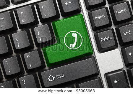 Conceptual Keyboard - Green Key With Handset Symbol