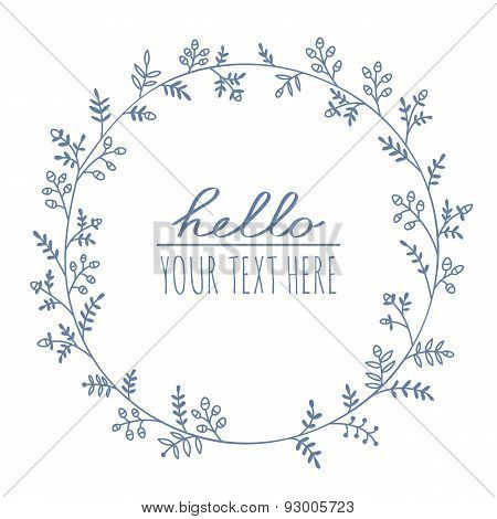 Cute hand drawn floral wreath on white background