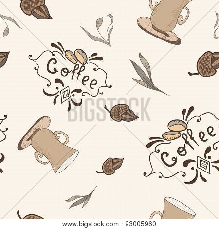 Vector Coffe Pattern in Sketch Style