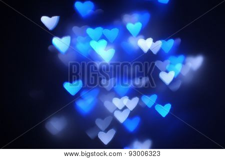 Lights blurred bokeh background in heart shape
