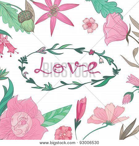 Love Lettering in Summer Floral Frame
