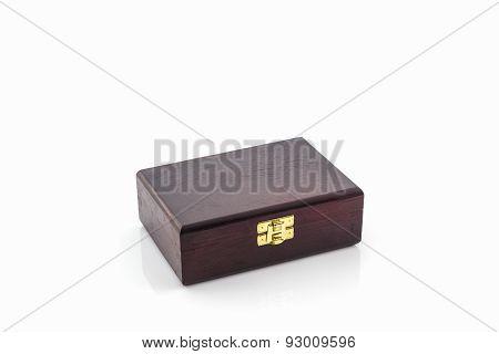 Dark Brown Wood Box.