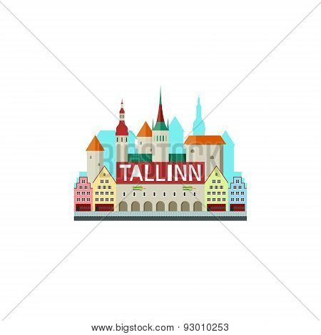 Vector illustration of Tallinn Estonia with city hall and cute small houses