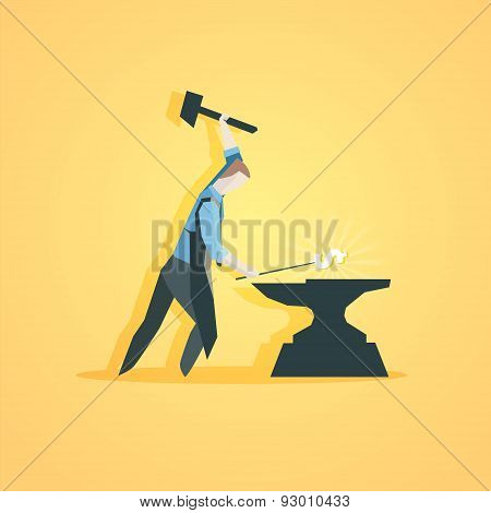 Business concept - Worker making money