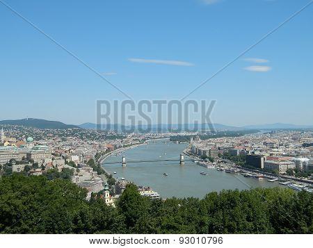 Danube River Seen From Gellert Hill In Budapest, Hungary.