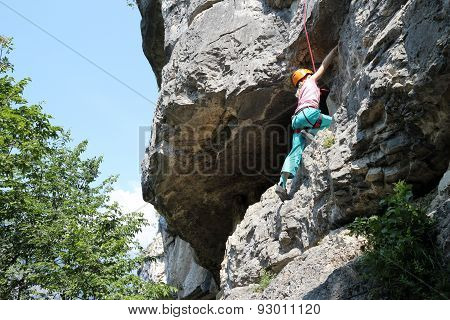 Climbing Girl And Rocks
