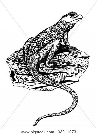 Ornate lizard with ethnic pattern