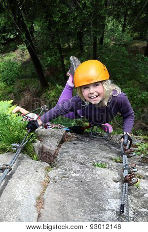 Smiling Girl Enjoy Climbing