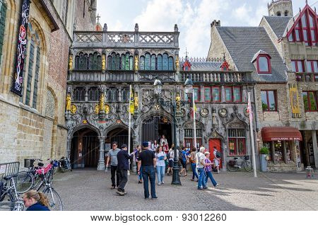 Bruges, Belgium - May 11, 2015: Tourist Visit Basilica Of The Holy Blood In Bruges