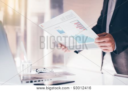 Businessman Using A Touch Screen Device