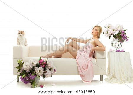 beautiful woman on bed in the morning