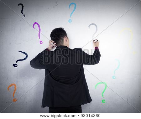 Business Man Write Question Mark On The Wall