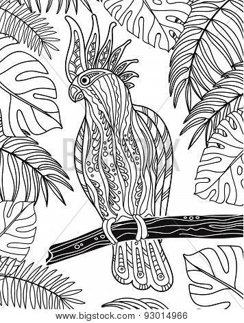Graphic cockatoo parrot on a branch with tropical leaves. Vector illustration