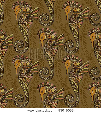 Seamless pattern of decorative seahorses