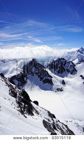 Scene Of Valley Titlis Snow Mountains
