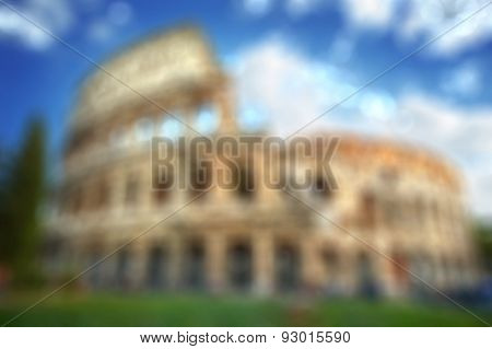Colosseum in Rome - blurred background with natural bokeh