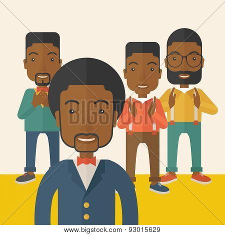A handsome black businessmen happy standing showing for their successful in life. . A Contemporary style with pastel palette, soft beige tinted background. Vector flat design illustration. Square