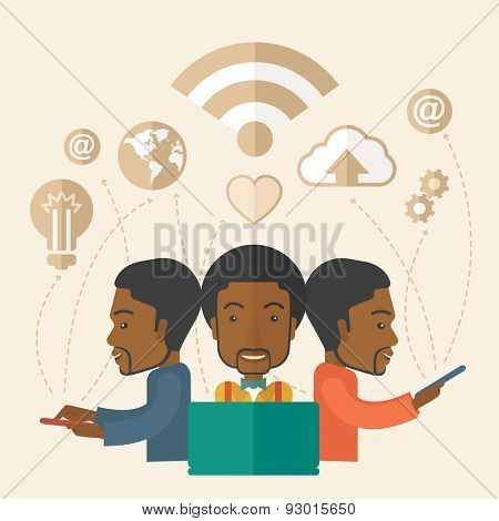 A balck businessmen using different kind of modern technology with internet wifi, bulb, cloud with downloading symbol, global and gear in the picture. Business concept. A Contemporary style with