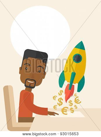A happy black guy is ready for his presentation on launching a new business project to earn more money. Start up concept. A Contemporary style with pastel palette, soft beige tinted background. Vector