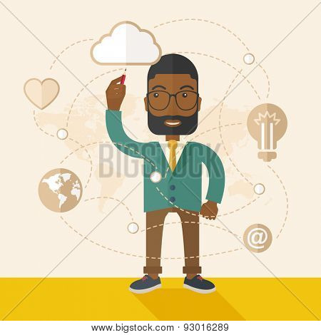 A Black man holding a pen making his presentation on glass board to be represent to his co worker. Teamleader concept.  A Contemporary style with pastel palette, soft beige tinted background. Vector