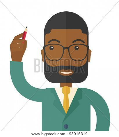 A Black man holding a pen making his presentation. Teamleader concept. A Contemporary style. Vector flat design illustration isolated white background. Square layout