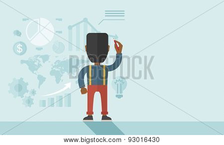 An african- american goodlooking  finance officer facing backward with his presentation, a graph, pie chart, dollar coin and map on the board. Business strategy concept. A contemporary style with