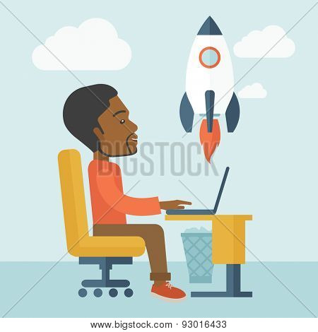 A black american man sitting with his laptop is searching for a new business project. Start up business concept. A contemporary style with pastel palette soft blue tinted background with desaturated