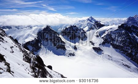 Valley Of Titlis Snow Mountains Mist