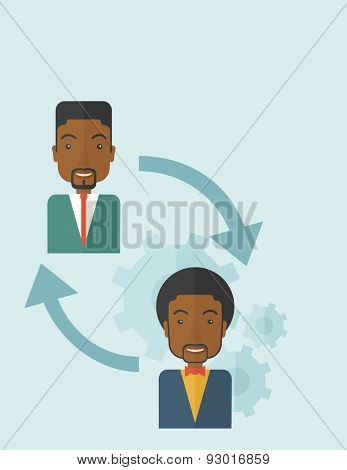 Two black men in exchanging ideas. Partnership concept. A contemporary style with pastel palette soft blue tinted background. Vector flat design illustration. Vertical layout.
