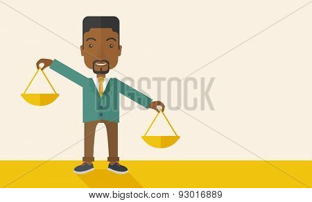 A black holding a Weighing scale inclined to the other side. Balancing concept. . A Contemporary style with pastel palette, soft beige tinted background. Vector flat design illustration. Horizontal
