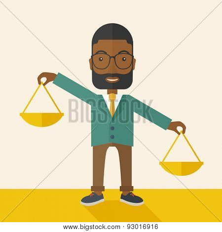 A black holding a Weighing scale inclined to the other side. Balancing concept. A Contemporary style with pastel palette, soft beige tinted background. Vector flat design illustration. Square layout.