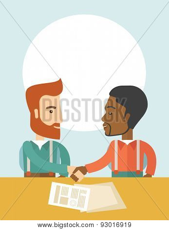 A white and black american businessmen handshaking and  having a business meeting with a contract to be sign. Business partnership concept. A contemporary style with pastel palette soft blue tint