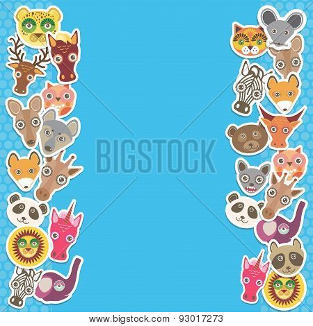 Funny Animals card template. blue background, template for your design. Vector