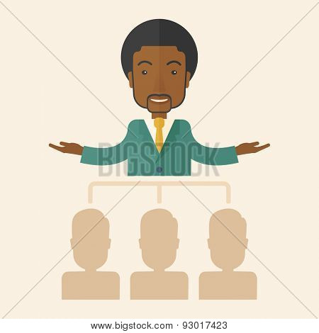 An african-american smart gentleman giving a business to his co workers. Business concept. A Contemporary style with pastel palette, soft beige tinted background. Vector flat design illustration