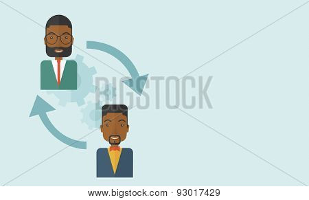 Two black men in exchanging ideas. Partnership concept. A contemporary style with pastel palette soft blue tinted background. Vector flat design illustration. Horizontal layout with text space